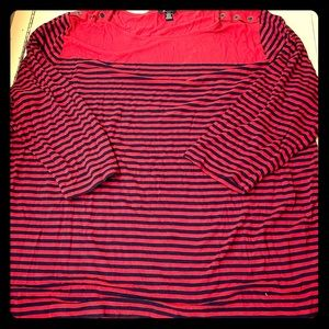 3/4 Length Red & Navy Top